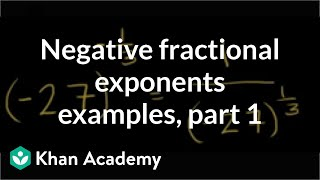 Negative fractional exponent exaṁples | Algebra I | Khan Academy
