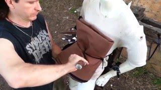 Dagger, Seax and Knife Thrust Test on Heavy Gambeson Rondel Grip!