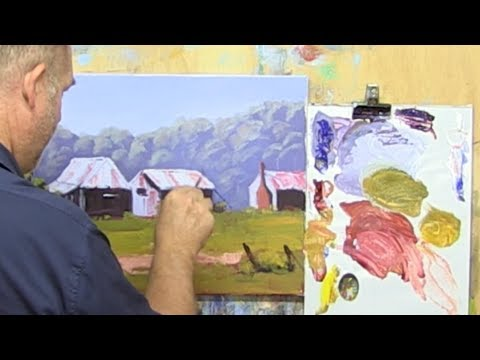 "Learn To Paint TV E50 ""Miners Cottages Near Hills End"" Acrylic Painting Landscape For Beginners"