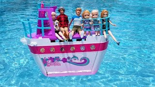 Download BOAT trip ! Elsa and Anna toddlers on cruise ship - Barbie is captain - vacation - pool - water fun Mp3 and Videos