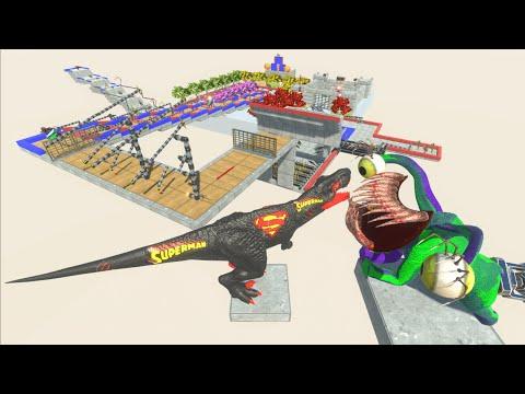 BLACK SUPERMAN T-REX DINOSAUR🦖RESCUE CHALLENGE TRAP RUN⚡-Animal Revolt Battle Simulator