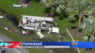 Two Ejected, Airlifted To Hospital After Utility Truck Crash In Homestead thumbnail