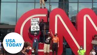 CNN building vandalized during Floyd protests   USA TODAY