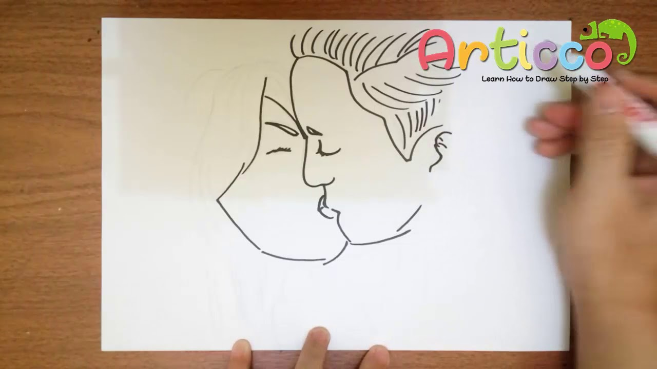 How To Draw Two People Kissing Step By Step Youtube