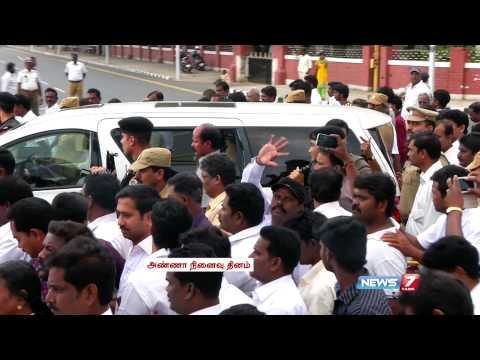 DMK President M Karunanidhi paid respect to Dravidian leader C N Annadurai