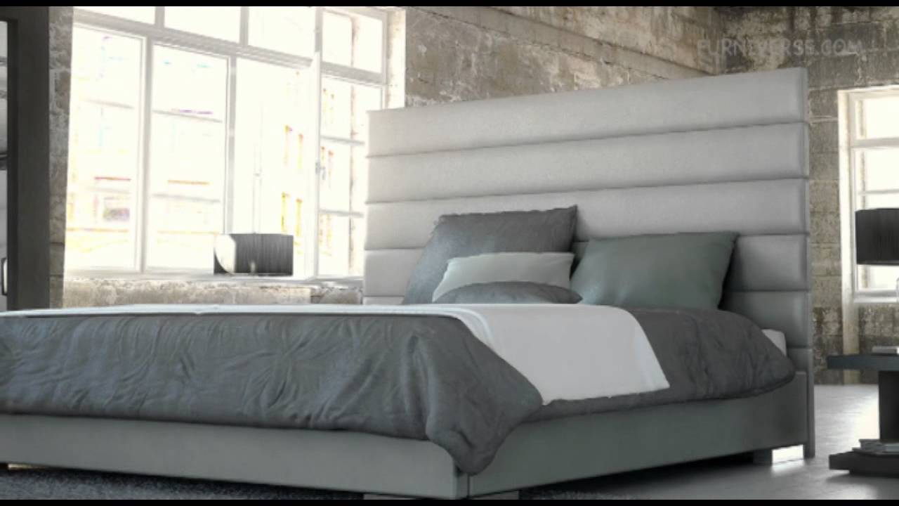 Modloft Prince Modern Bed In Warm Gray Leather Youtube