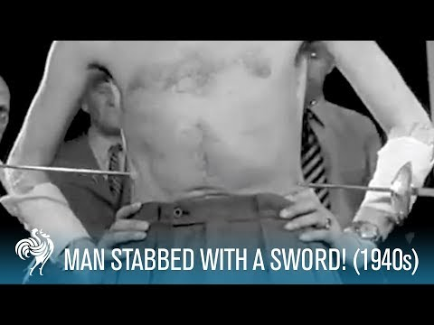 Man Stabbed With a Sword! 1940s  British Pathé