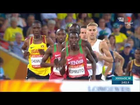 Comm Games 2018 Steeplechase 3000m. Kenya Clean sweep 1,2,3