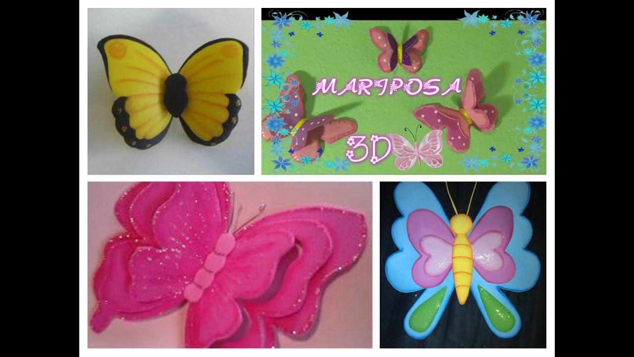 Mariposas 3d en foamy o goma eva butterfly made of craft - Como hacer mariposas de goma eva ...