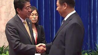 Raw: Awkward Handshake Between Abe, Xi at APEC