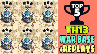 TOP 5 TH13 WAR BASE 2020 WITH REPLAYS | TH13 BEST ANTI 2 STAR WAR BASE - Clash with kvn