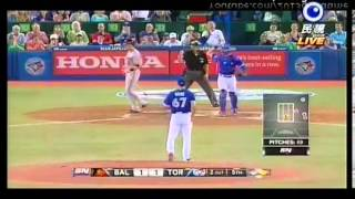 20130623 金鶯VS藍鳥 5上 王建民 三振 RYAN FLAHERTY
