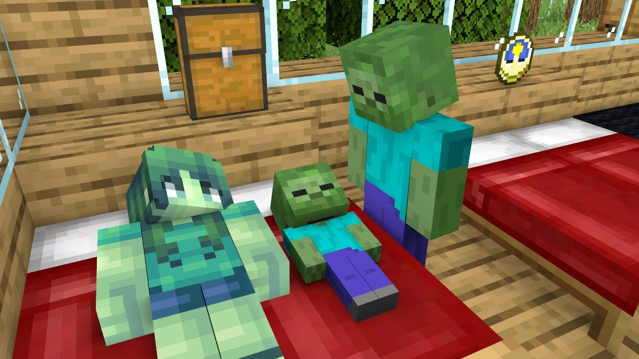 Monster School : Funny Zombie Family - Minecraft Animation
