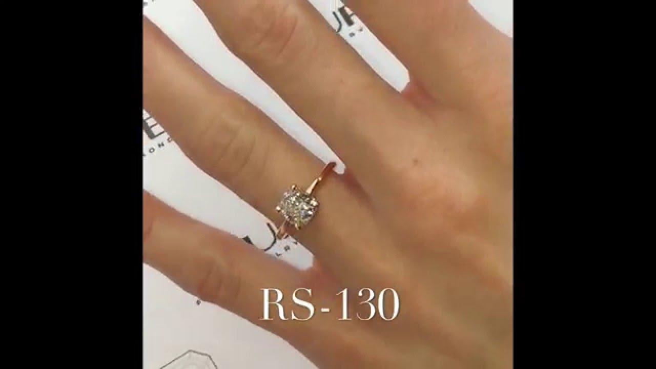 Carat cushion cut diamond engagement ring thin band youtube - 1 20 Ct Cushion Diamond Engagement Ring In Rose Gold