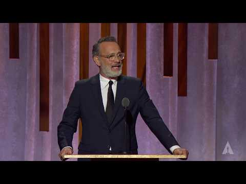 Tom Hanks honors Geena Davis at the 2019 Governors Awards
