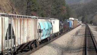 Train Cab Ride Fast Freight overtaking a slow freight train