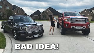 I LET MY SISTER DRIVE MY TRUCKS! *ALMOST CRASHED*