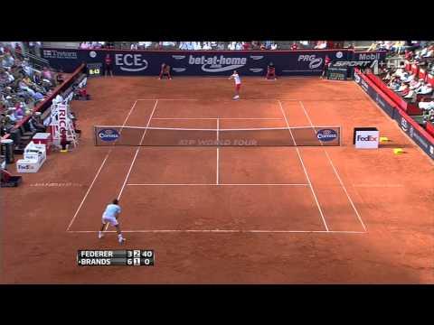 2013 Hamburg Round 2 - Federer vs Brands Highlights [HD]