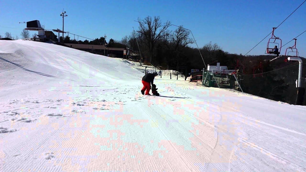 11 month old snowboarder shredding at sundown mountain resort