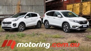 Honda CR-V v Kia Sportage 2016: Video Review(The Kia Sportage is the newest kid on the Medium SUV block. So naturally, it's time for an SUV showdown!, 2016-04-08T03:00:00.000Z)