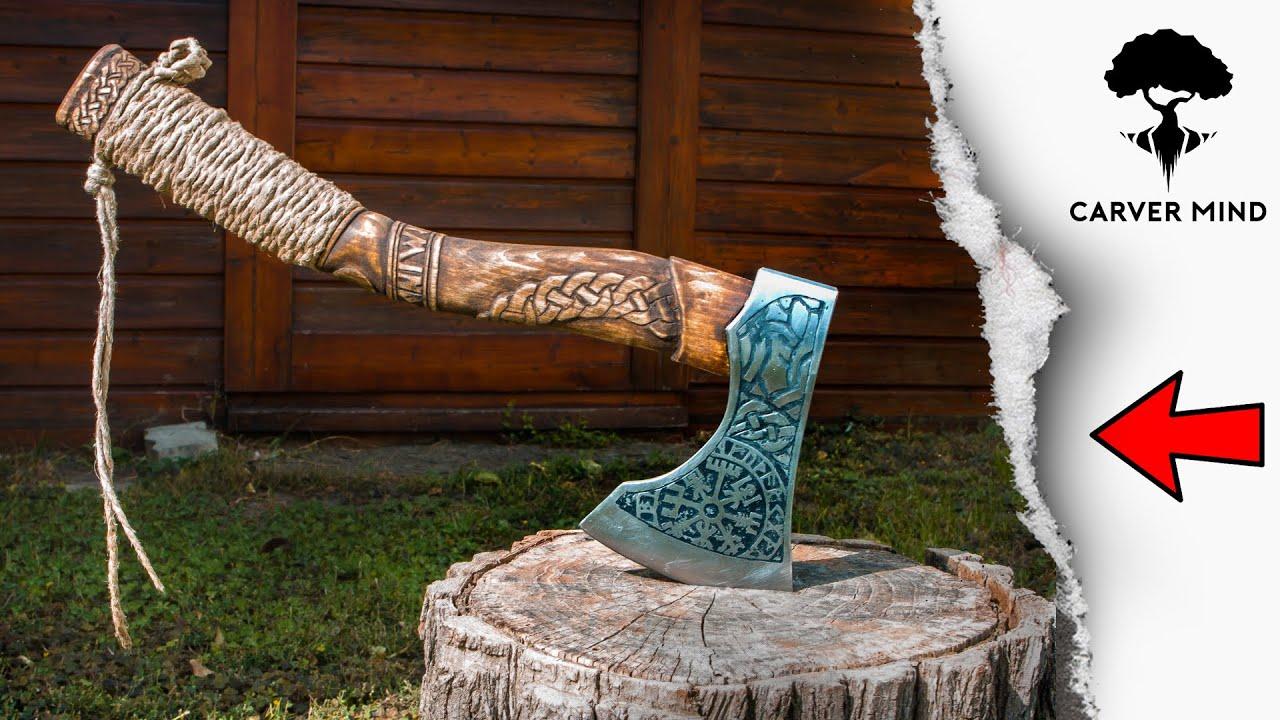 Viking Axe Handmade Metal And Wood Carving