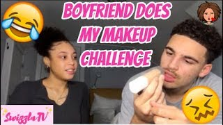 BOYFRIEND DOES MY MAKEUP CHALLENGE | FULL FACE CHALLENGE