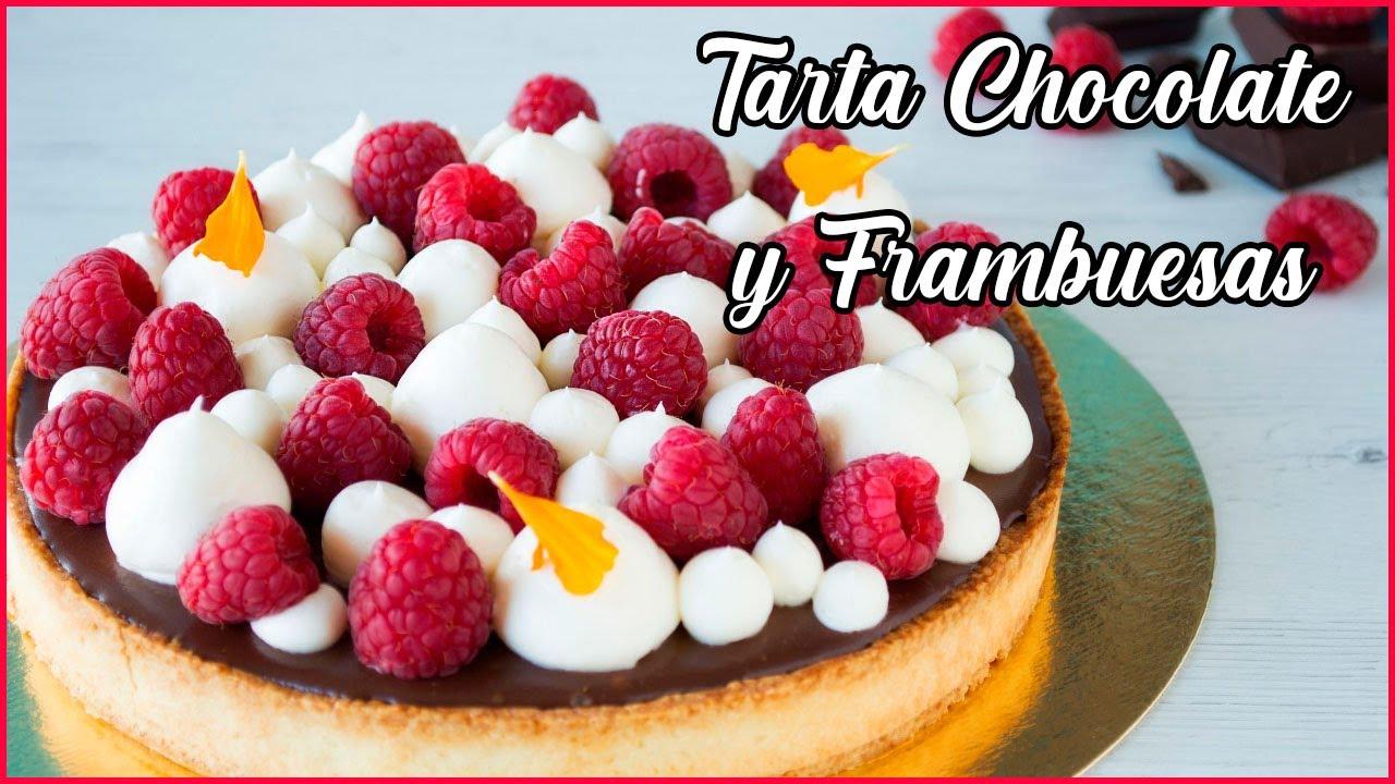 TARTA de CHOCOLATE y FRAMBUESAS 🥧| Fácil y Rápida 👌