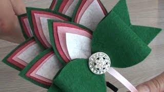 МК Ободок Жар Птица из фетра Цветы из лент Канзаши