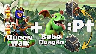 Melhor Estratégia Com Bebe Dragão E Queen Walker Pt Na Cabeça Th9/Th9.75 - Clash Of Clans