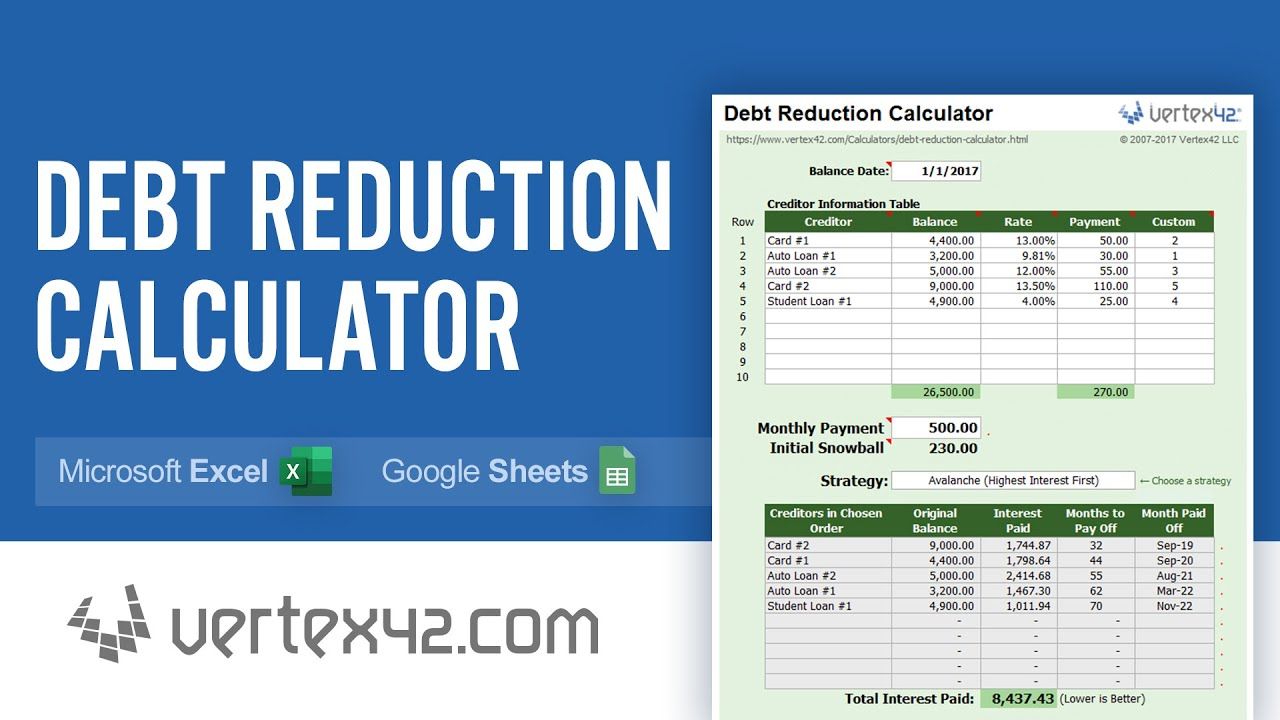 Debt Reduction Calculator Tutorial   Use a Debt Snowball to Pay Off Your  Debts