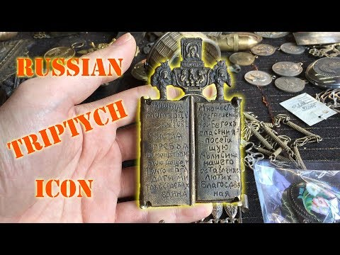 Antique Russian Triptych Icon 19th