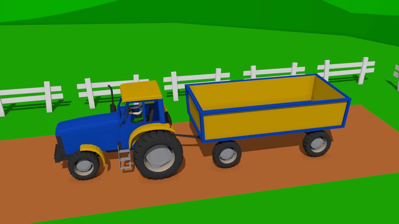 Blue Tractor and Red Truck - Bulding garage | Wooden Toys i Traktor Bajka