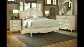American Woodcrafters Chateau Collection Sleigh Bedroom Set In White Antique 3501-set B