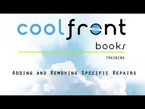 Coolfront Books - Adding and Removing Specific Repairs