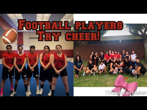 Football players try cheerleading