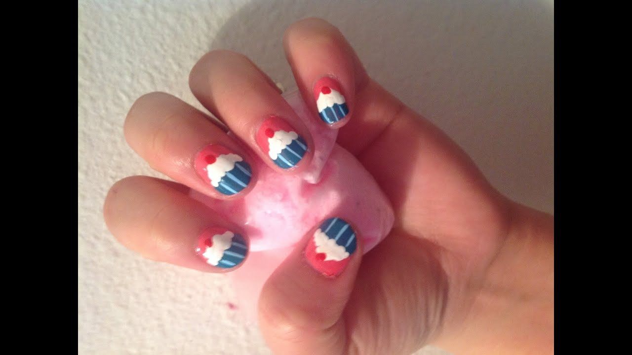 Cupcake nail design for short nails youtube prinsesfo Image collections