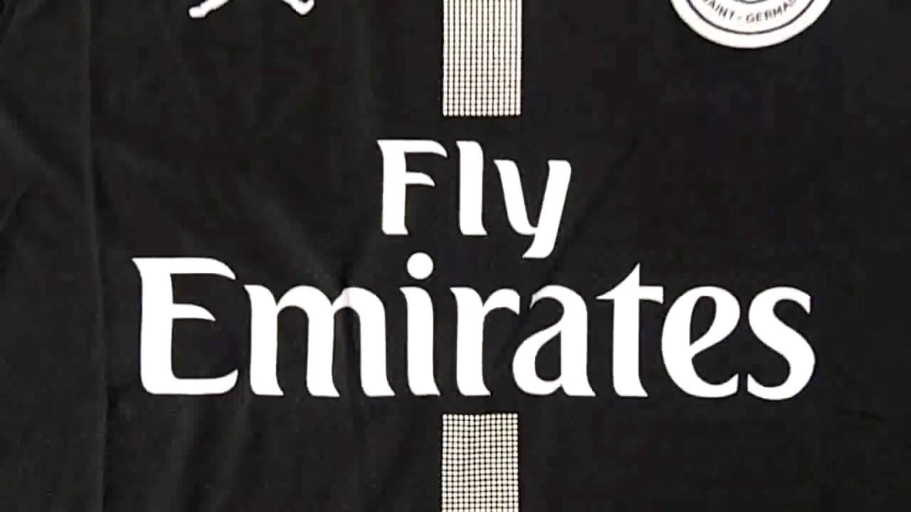 san francisco 9674e 14f15 jerseysoccercheap.com 18-19 PSG x Jordan Third Black Soccer Jersey Shirt  Unboxing Review