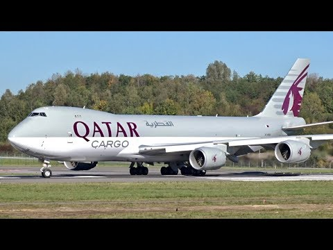 Qatar Airways Cargo | Brand New Boeing 747-8F | Landing and Departure at Luxembourg Airport