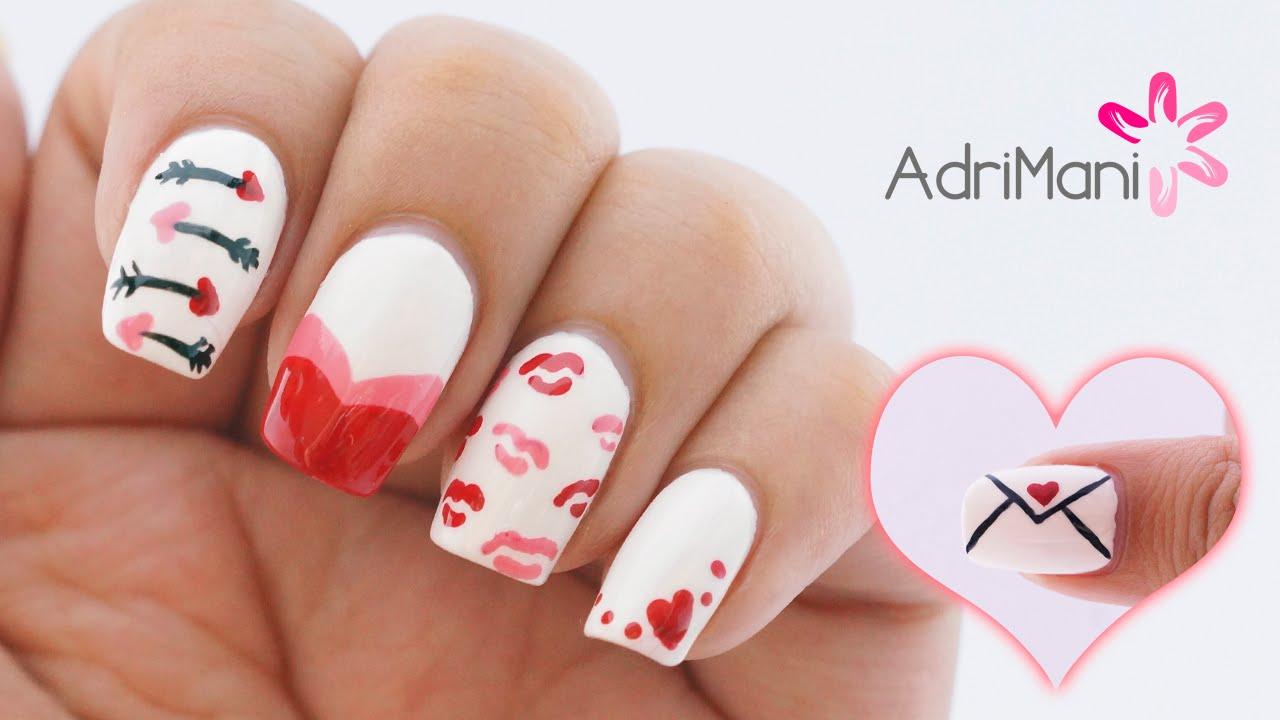 5 Diseños de uñas fáciles y bonitos para San Valentín - YouTube
