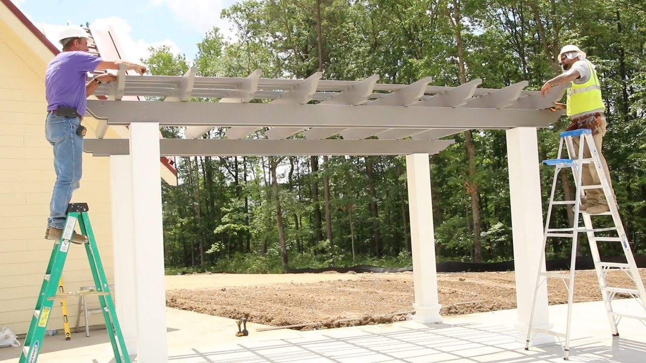 How To Install A Freestanding Fiberglass Pergola Kit Youtube