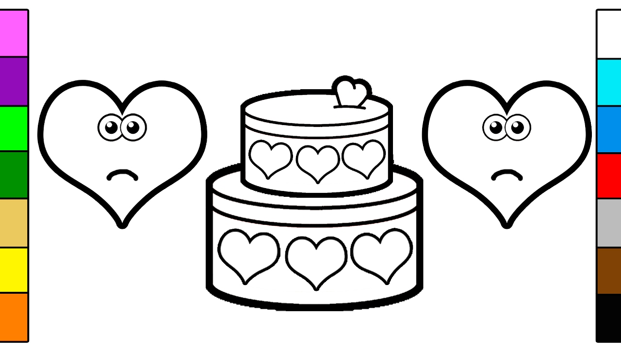 Valentine S Day Coloring Page And Learn Colors With Hearts Chocolate Cake Youtube