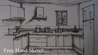 Free hand Sketch| Kitchen sketching