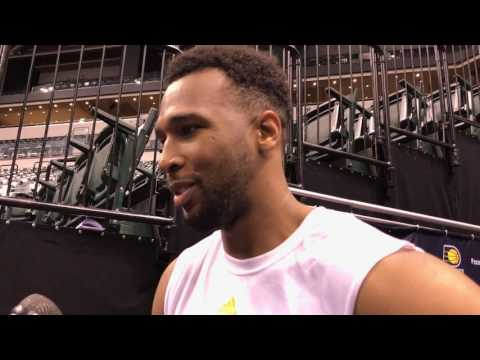 Ohio State's Trevor Thompson after working out for the Pacers