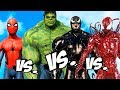 VENOM Vs CARNAGE Vs SPIDER-MAN Vs INCREDIBLE HULK - EPIC SUPERHEROES BATTLE