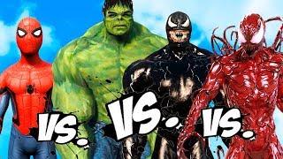 VENOM vs CARNAGE vs SPIDER-MAN vs INCREDIBLE HULK - EPIC SUPERHEROES BATTLE