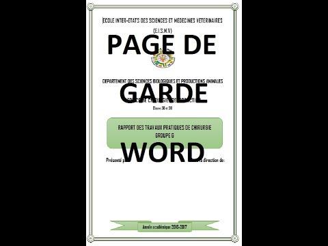 Comment Faire Page De Garde Sur Word Office