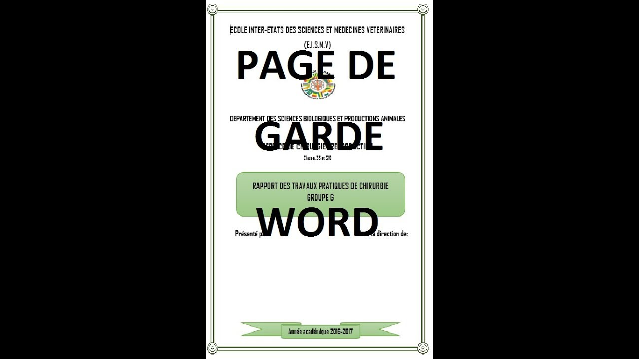 comment faire page de garde sur word office