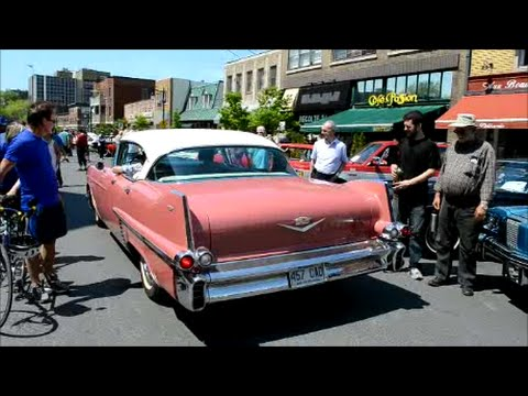 Classic Cars Driving At St Lambert Quebec Car Show Youtube