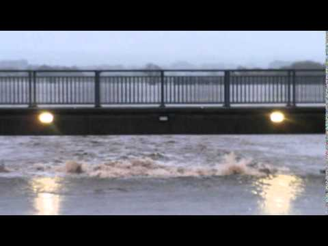 St Michael's flood gate flowing fast Dec 2015