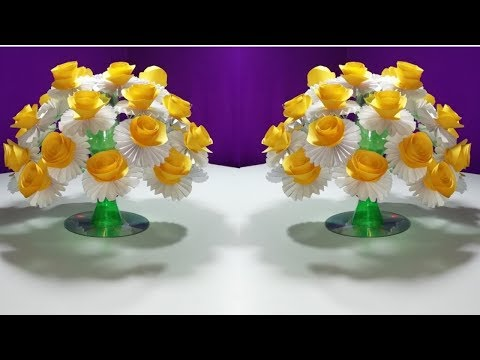 How to make Beautiful paper Rose flowers || Easy wonderful flower from plastic bottle vase